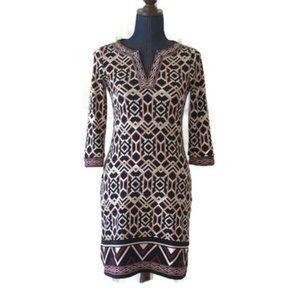 WHBM tunic shift dress geometric print black beige